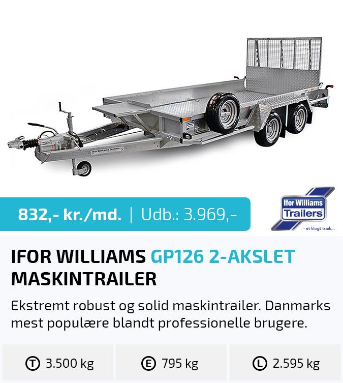 Maskintrailer leasing - Ifor Williams GP126